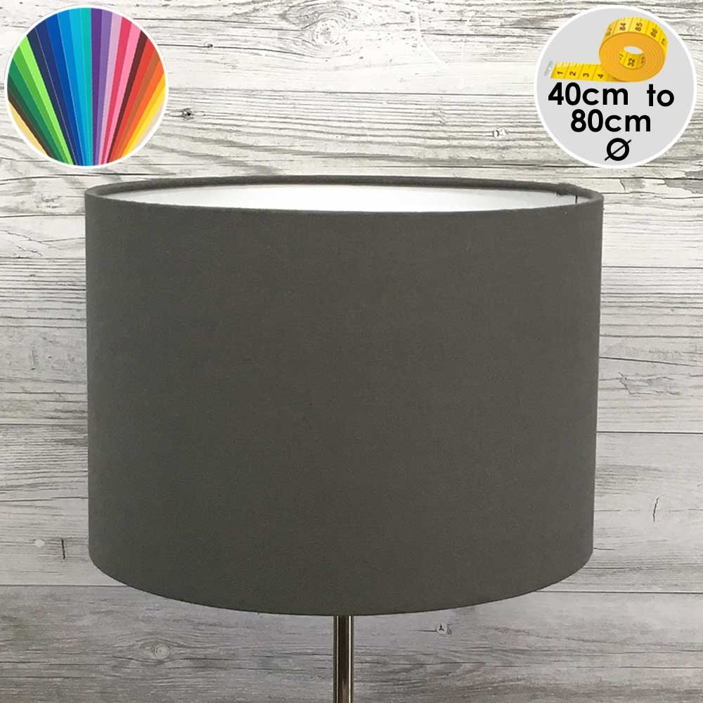 Extra Large Grey Drum Table Lamp Shade