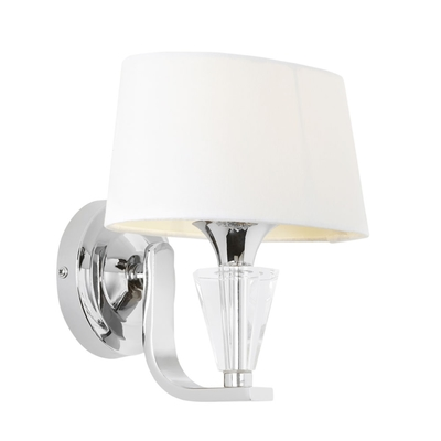 Nickel Wall Light with White Oval Shade