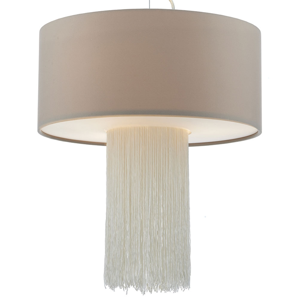Fitzgerald large drum pendant with fringe imperial lighting for Wide drum lamp shade