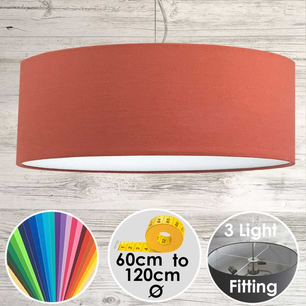 Cara XL Drum Ceiling Light Firebrick