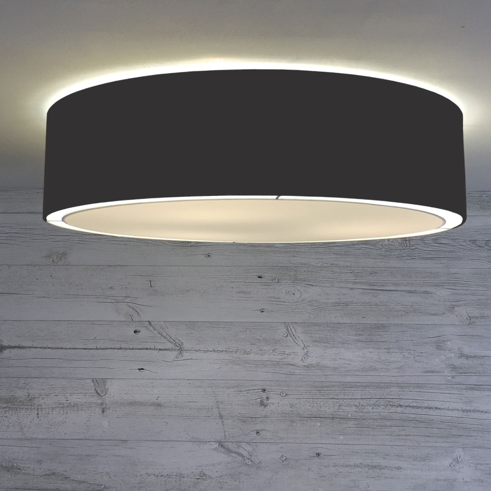Flush Drum Ceiling Light Black