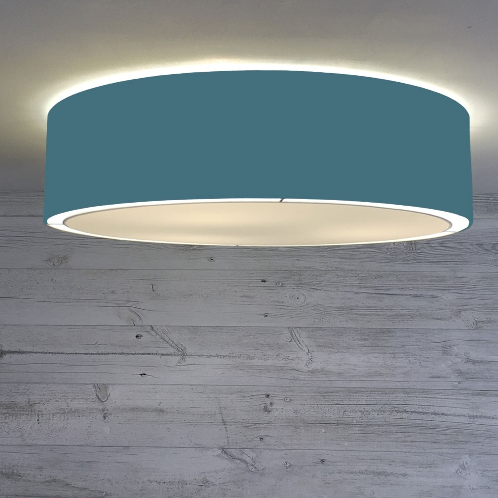 Flush Drum Ceiling Light Cadet Blue