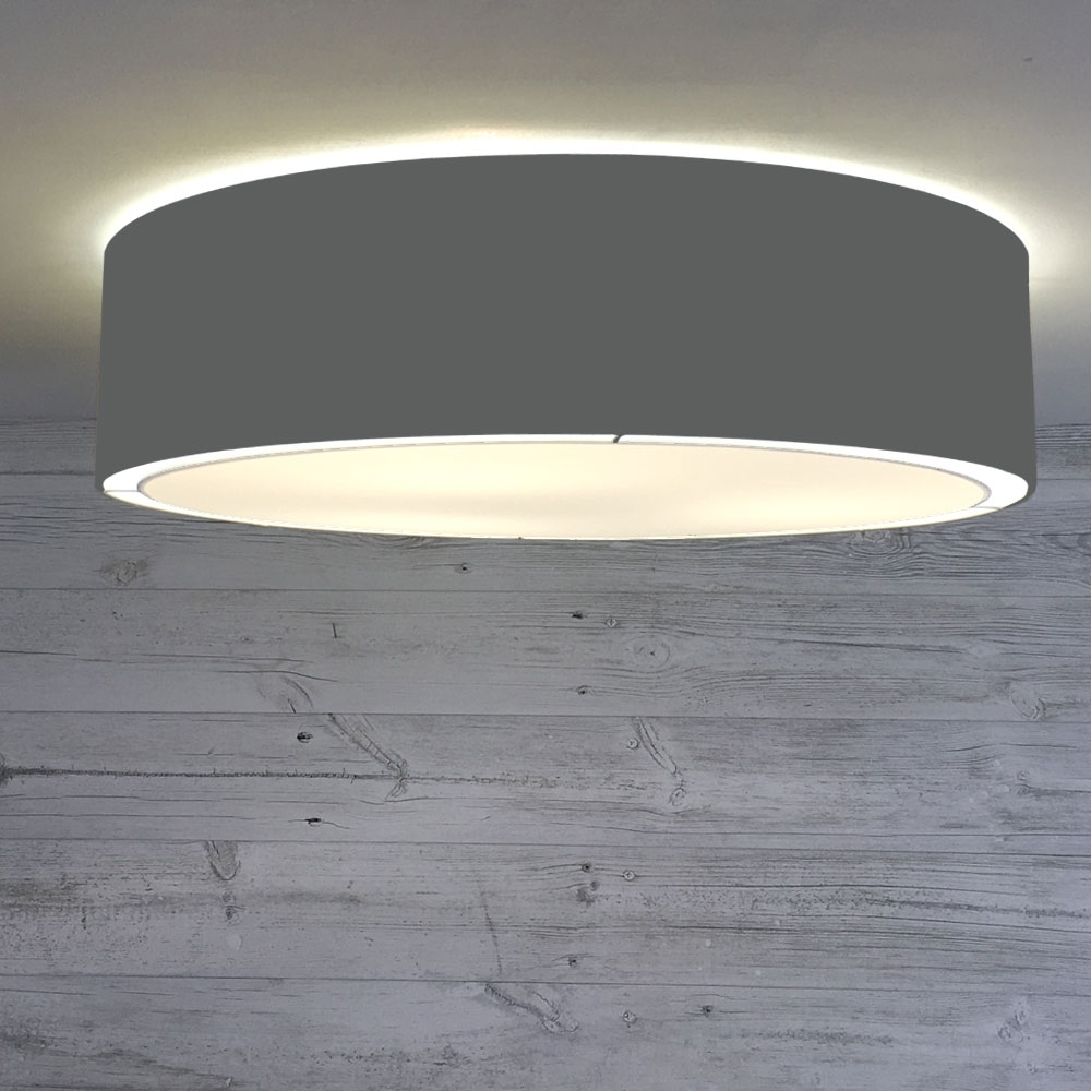 Flush Drum Ceiling Light Charcoal