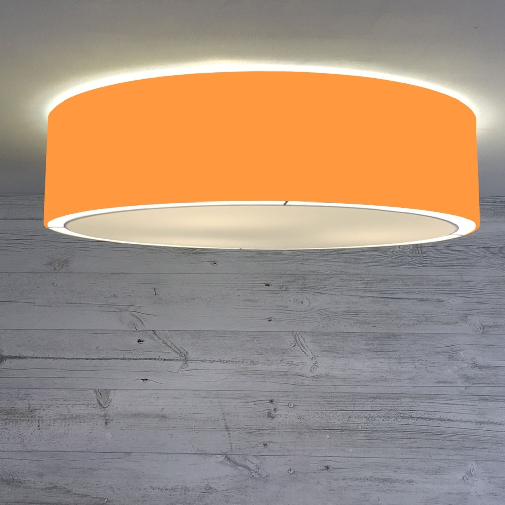 Flush Drum Ceiling Light Orange