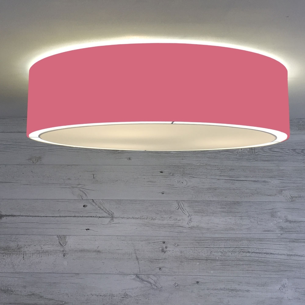 Flush Drum Ceiling Light Raspberry