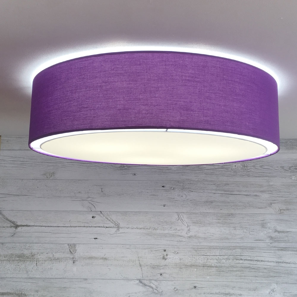 Flush Drum Ceiling Light Royal Purple