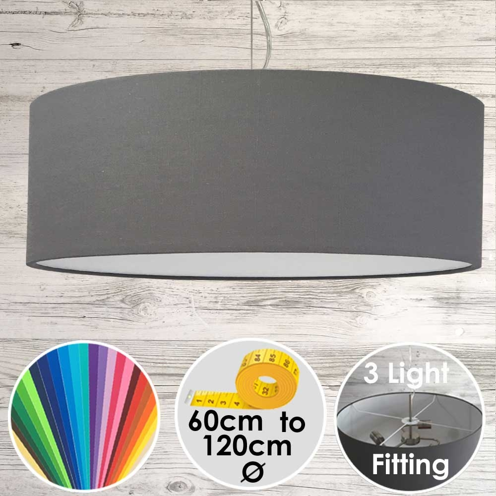 Cara XL Drum Ceiling Light Grey