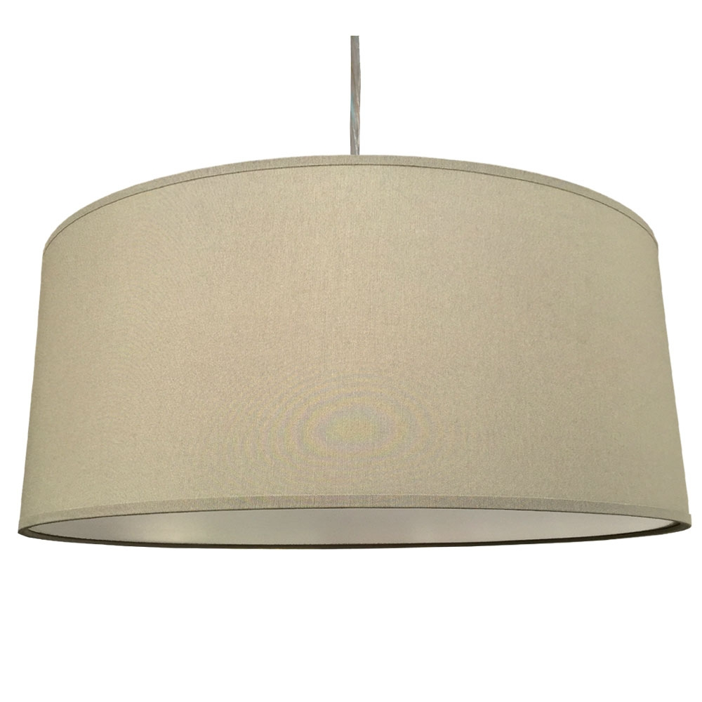 home modern lamp shades xl drum shade and suspension in kelp cotton. Black Bedroom Furniture Sets. Home Design Ideas