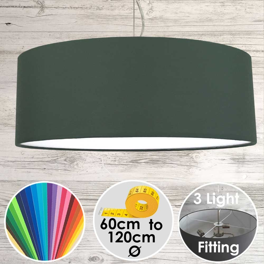 Large Drum Lampshade Dark Green