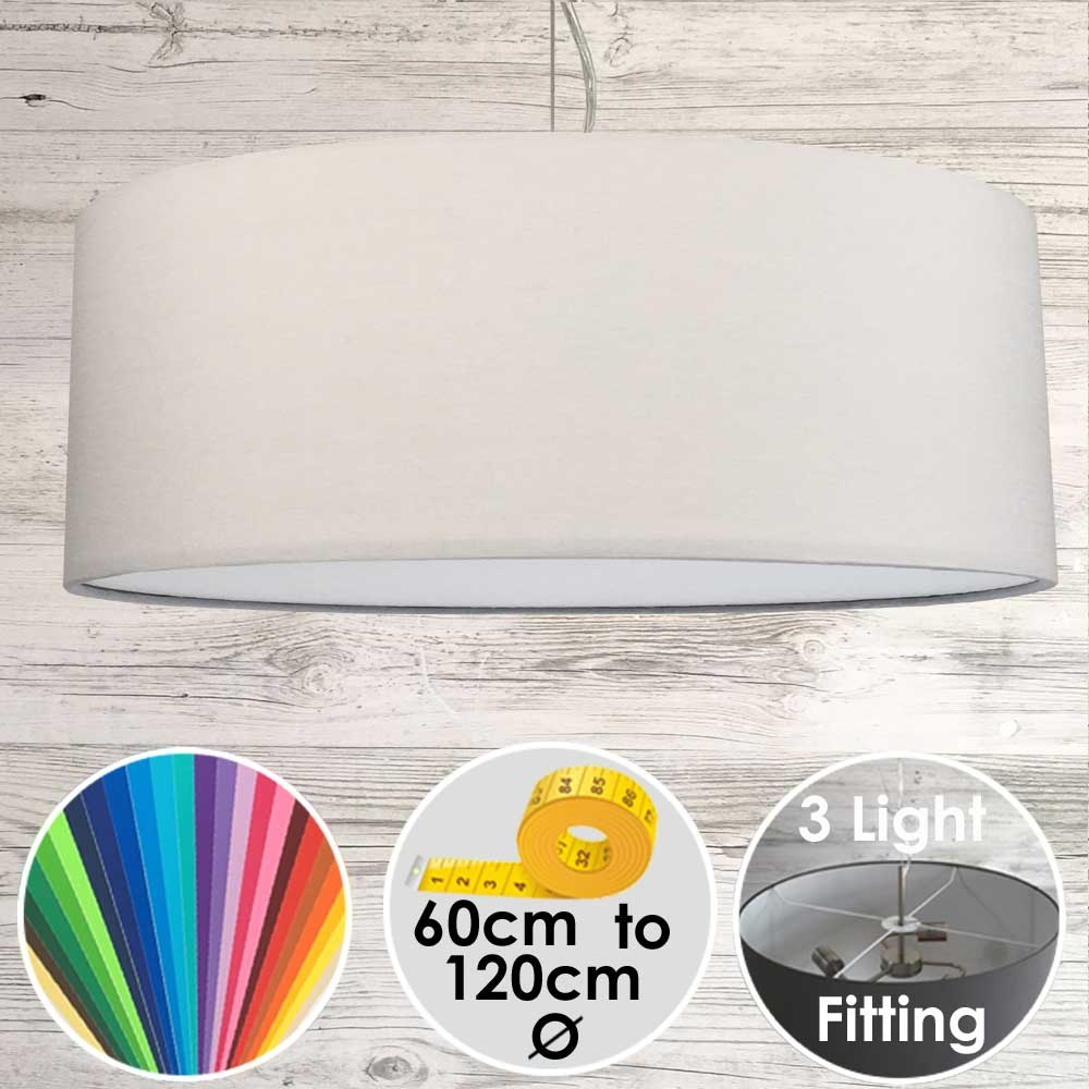 Large Drum Lampshade Light Grey