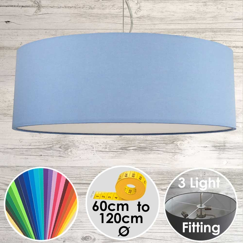 Large Drum Lampshade Sky Blue
