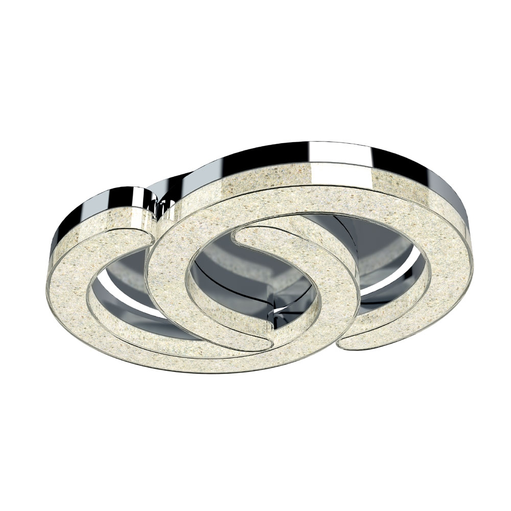 Link Polished Chrome Flush Ceiling Light