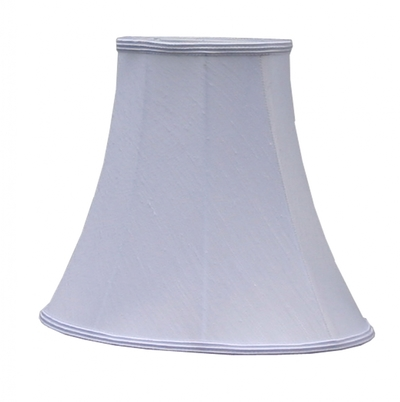 Bowed Oval Lampshade White Dupion