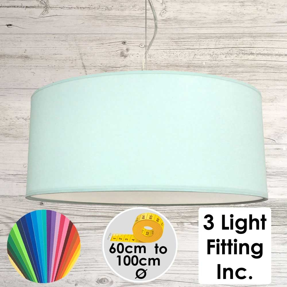 Pale Green Drum Ceiling Light