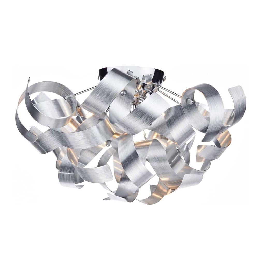 Rawley 4 Light Brushed Aluminium Flush Light