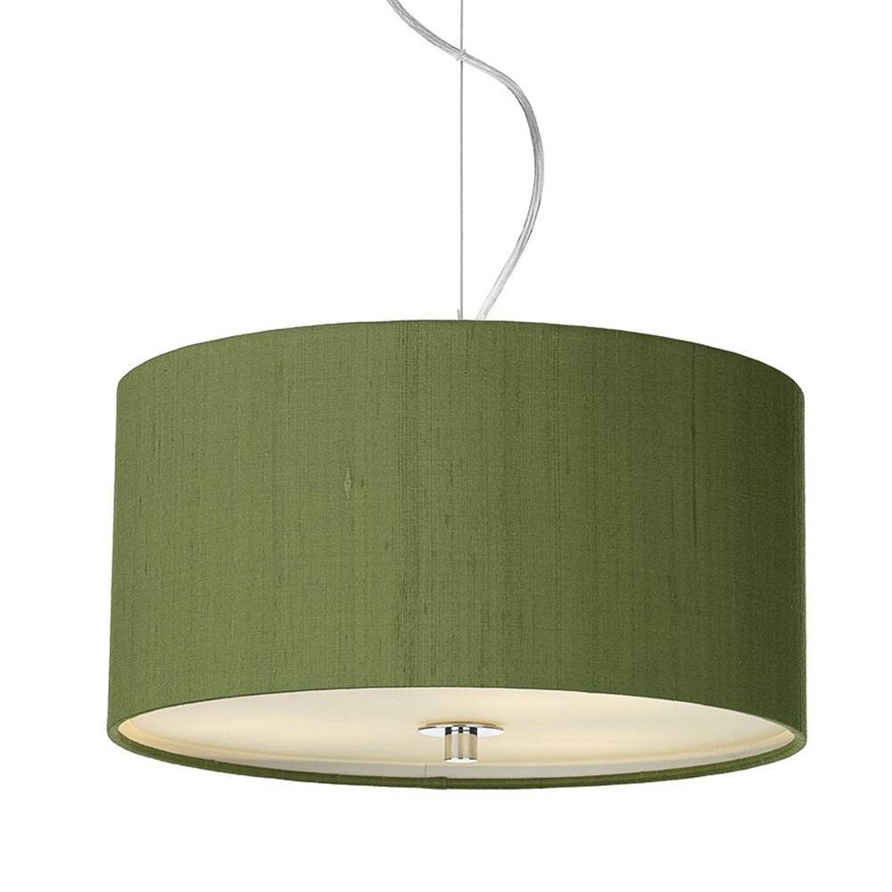 Dupion silk drum shade olive green