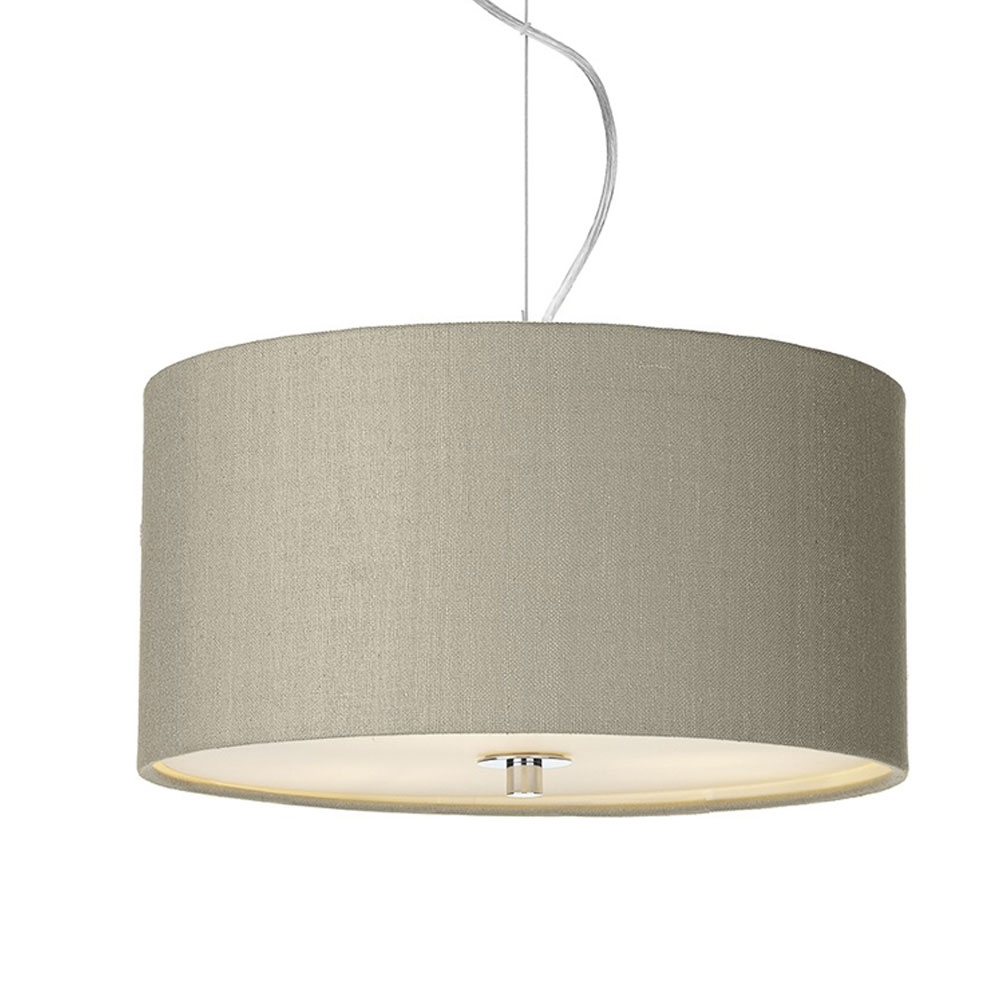 Dupion silk drum shade linen grey