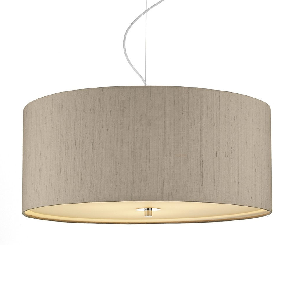 Dupion Silk Drum Shade Taupe