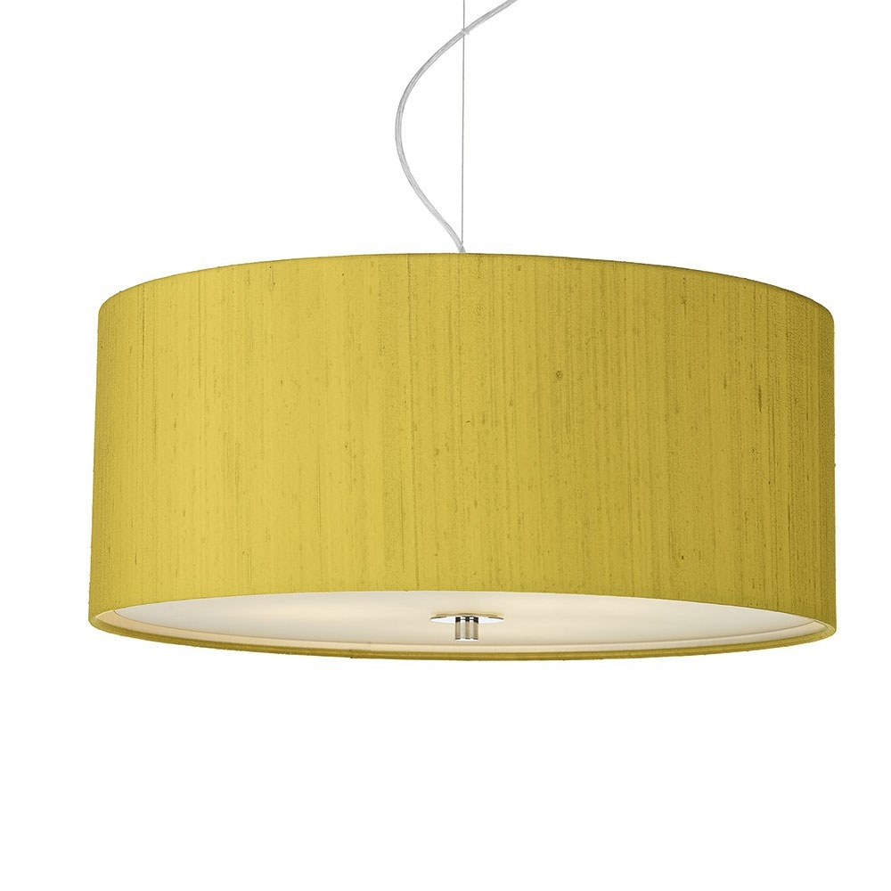Dupion silk drum shade citron