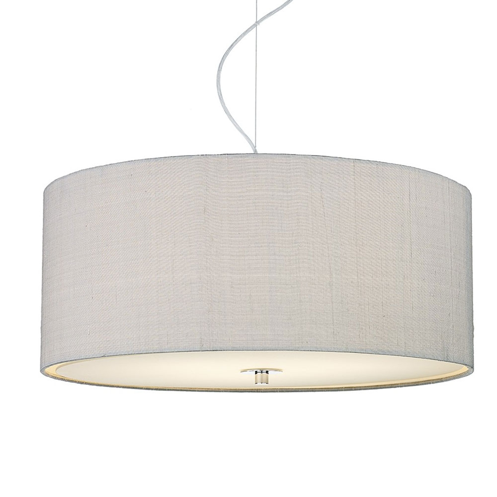 Dupion Silk Drum Shade Silver