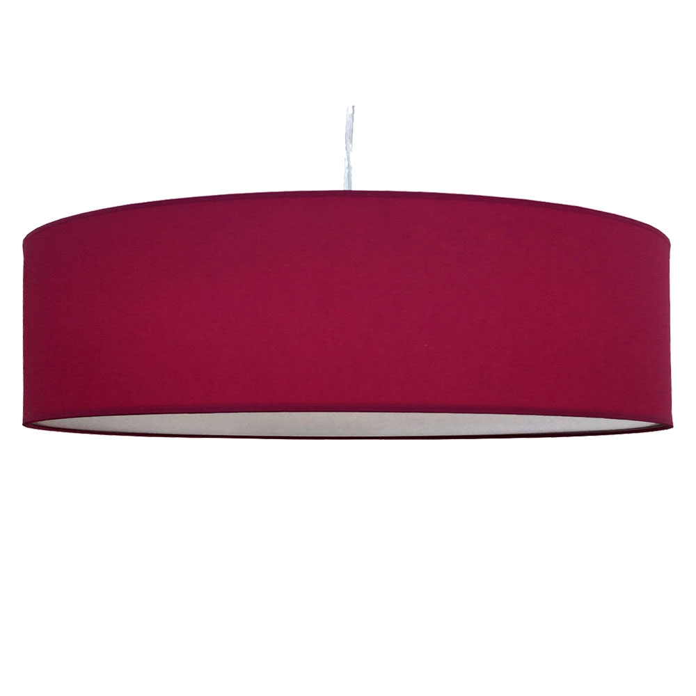 home modern lamp shades thin drum pendant shade in raspberry cotton. Black Bedroom Furniture Sets. Home Design Ideas