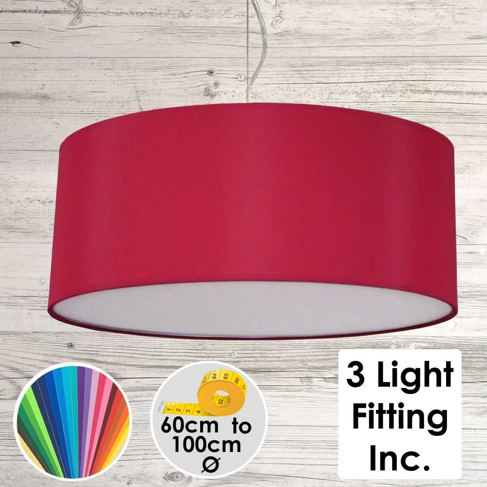 Brick Red Drum Ceiling Light