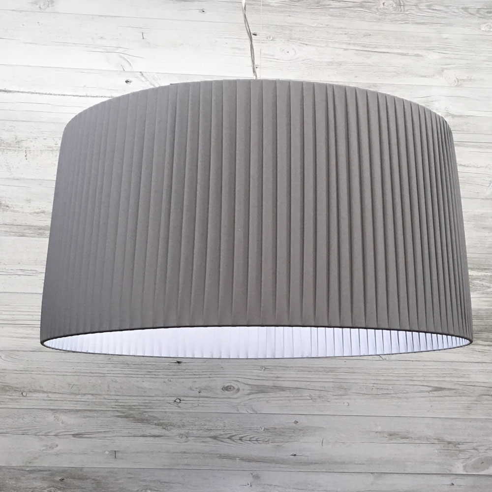 Heskith pendant grey imperial lighting product description our stunning handmade grey ribbon wrapped ceiling lamp shade aloadofball Choice Image
