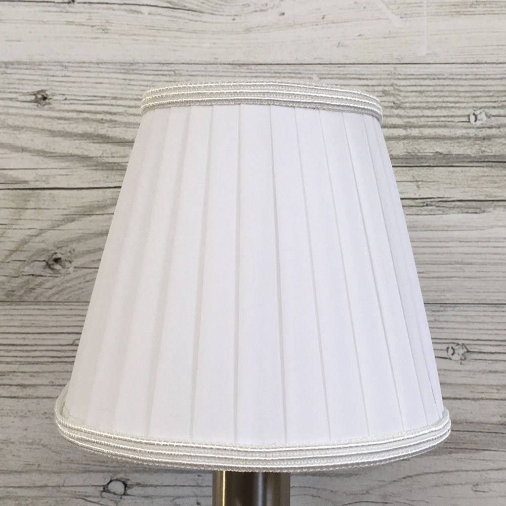 Ribbon Clip on Candle Shade White with Trim