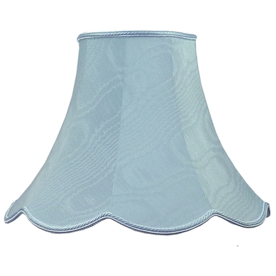 Scalloped bowed empire lampshade pale blue moire imperial lighting product description a handmade bowed empire fabric lampshade in pale blue aloadofball Choice Image