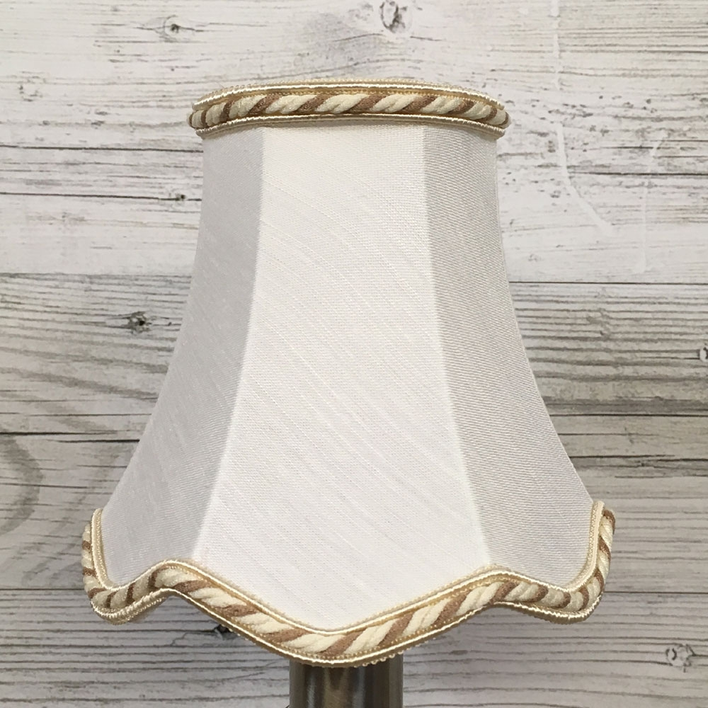 Scalloped Candle Shade White & Fawn