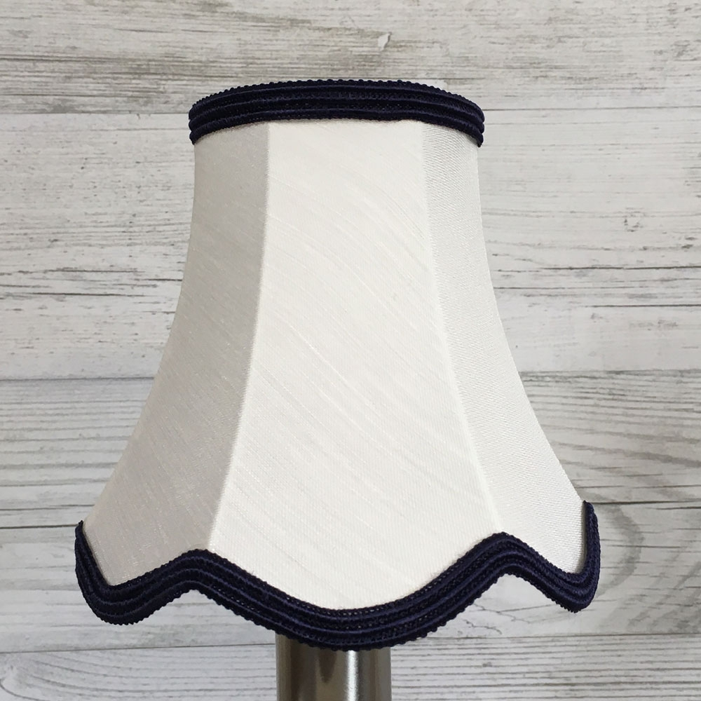 Scalloped Candle Shade Natural & Blue
