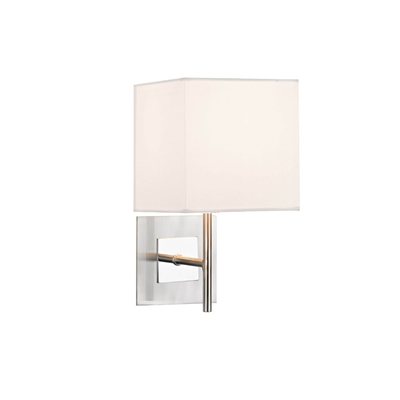 Satin and Polished Chrome Wall Light with Square Shade