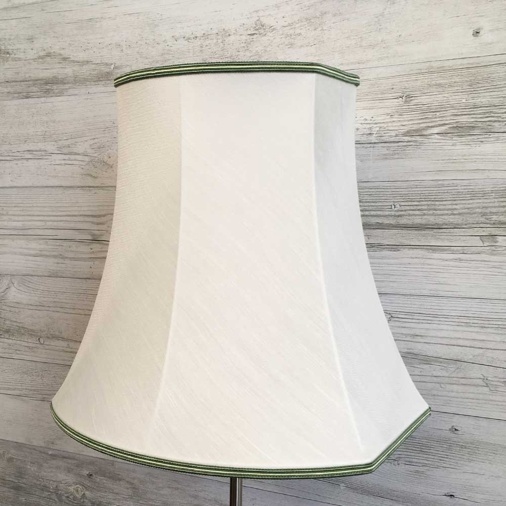 Square End Oval Lampshade White Dupion