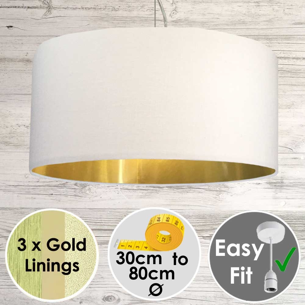 White Drum Lamp Shade Gold Lining
