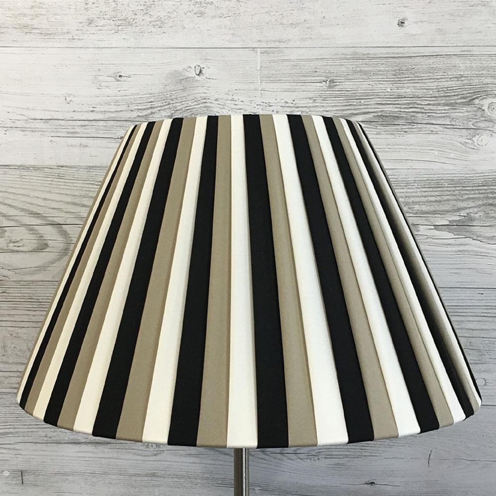 Black, cream & khaki striped lampshade
