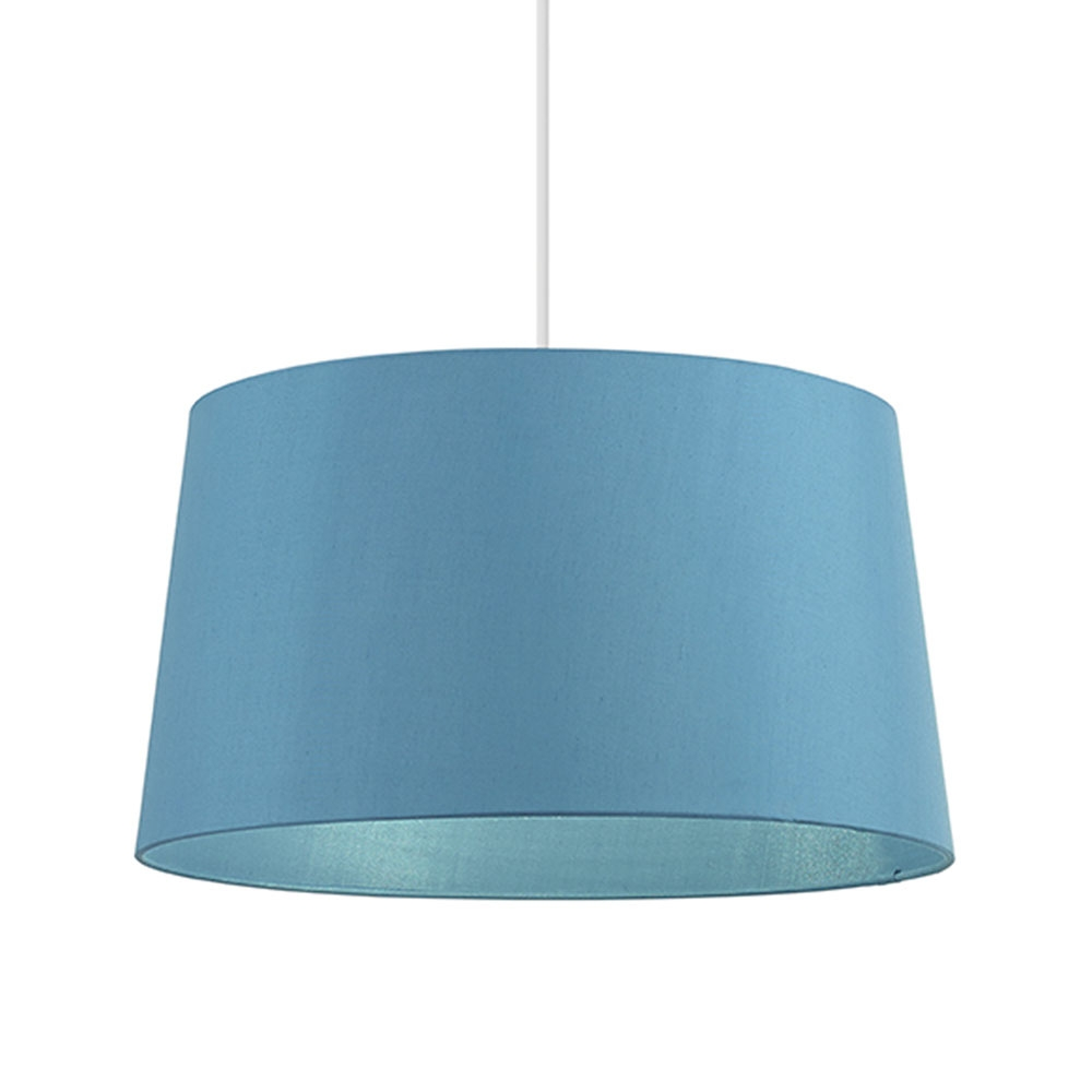 home modern lamp shades faux silk tapered drum blue. Black Bedroom Furniture Sets. Home Design Ideas