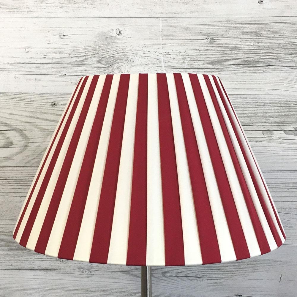 Cream & red striped lampshade