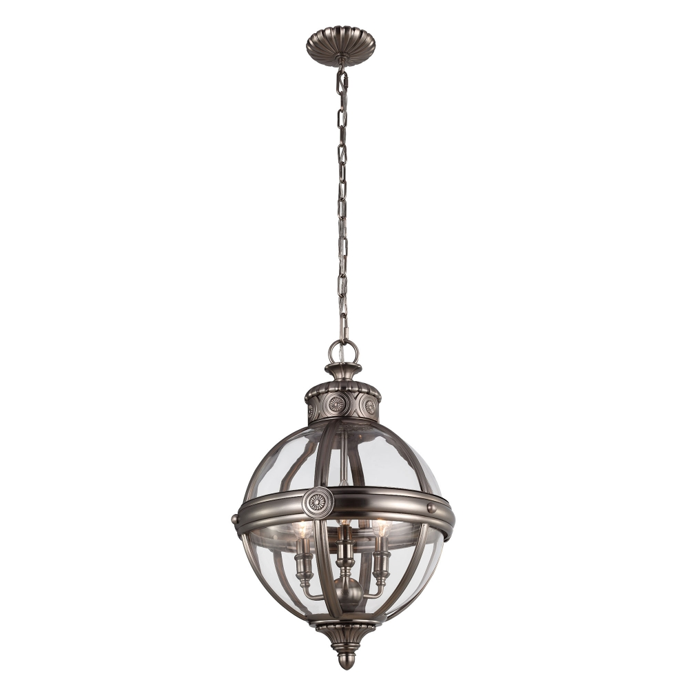 Adams 3 light pendant antique nickel