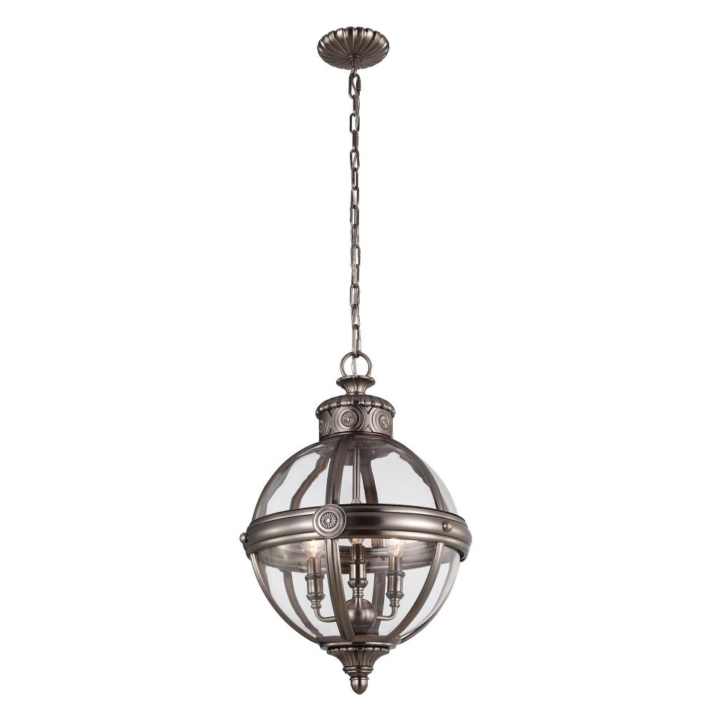 Adams 3 light pendant antique nickel