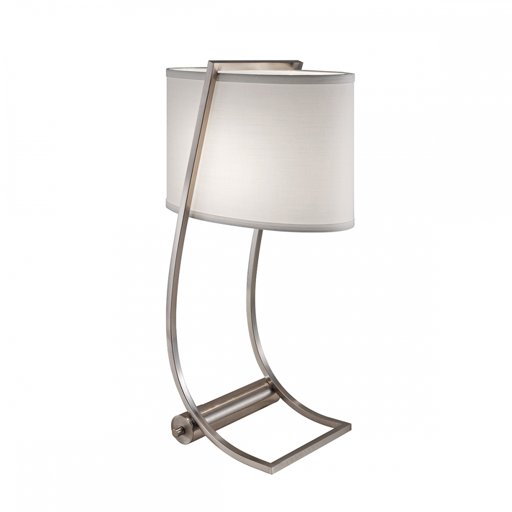 Lex brushed steel table lamp with USB port