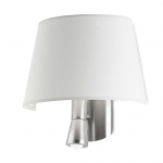 Flush LED Satin Nickel Wall Light with White Shade