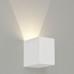 Cube Plaster up or Down Wall Light White