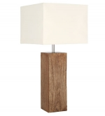 Natural Ribbed Wood Table Lamp Square