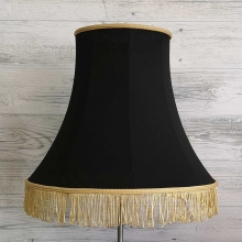 Bowed Empire Black with Gold Fringe