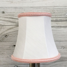 Bowed Empire Candle Shade White & Pink