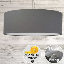 Cara Large Grey Drum Lampshade