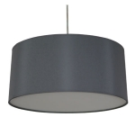 Drum Pendant Shade in Charcoal Cotton