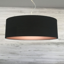 Large Black & Copper Drum Shade