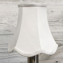 Scalloped Bowed Candle White Dupion
